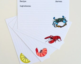 Set of 16 Recipe Card 3 X 5 Recipe Card 4 X 6 Recipe Card Seafood Recipe Card Set Shellfish Recipe Card Lobster Recipe Card Crab Recipe Card