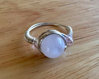 Quartz and Sterling Silver Wire Wrapped Ring