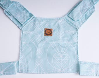 Doll carrier - Blue with white geometric patterns