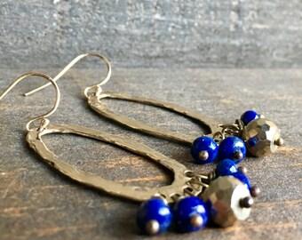 Lapis Lazuli & Golden Pyrite Hoop Earrings, Oval Gold Earrings, Handmade in Alaska, Gift for Her, Gift for Mom, Gift for Wife