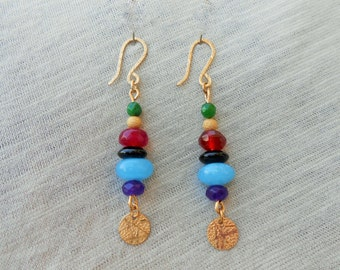 Jade gold earrings, Jade drop earrings, Jade dangle earrings, Jade earrings