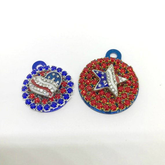 Bling Engraved Patriotic Red White Blue Crystal Rhinestone Dog Cat Pet Round ID Engraveable Tag Charm for Collar, 5 Fonts- USA