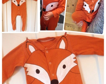 Halloween, Orange fox babygrow, fox sleepsuit, fox onesie, UK seller, newborn, Halloween costume baby, 0-24 months
