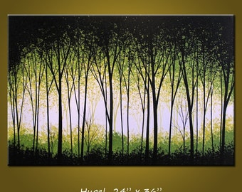 Art Painting Original Large Abstract Modern Contemporary Landscape Trees .. white green black ...24 x 36 .. Lush Forest, by Amy Giacomelli