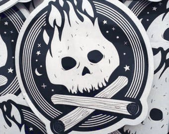 Vinyl Sticker - Campfire Skull - Outdoors - free shipping