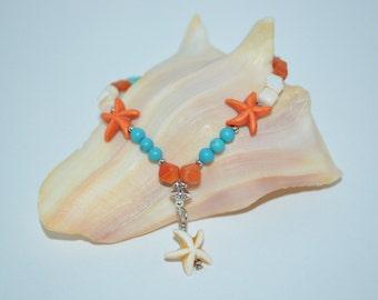 Ankle Bracelet Star Fish, Star Fish Anklet, Shell & Turquoise Beaded Star Fish Anklet, Star Fish Charm Anklet