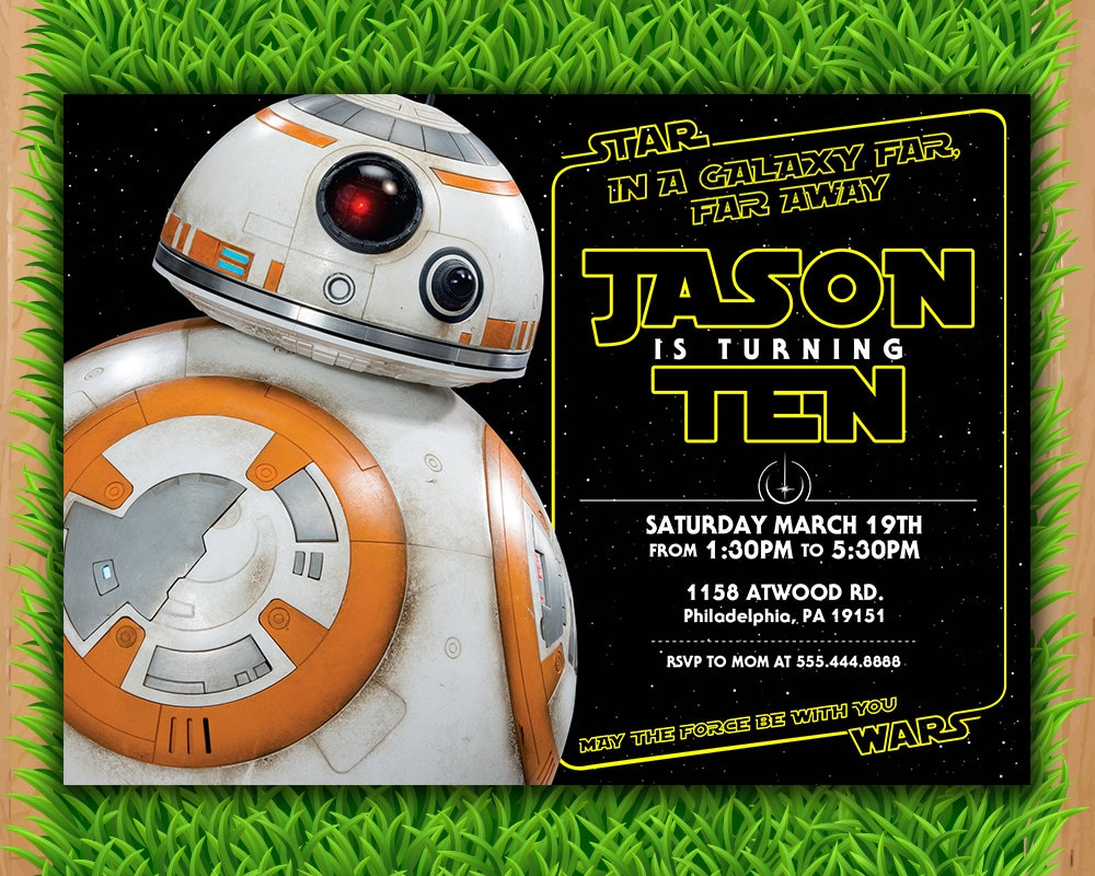 BB8 Invitation Star Wars Invite A Force Awakens Invitation
