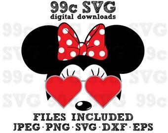 Minnie Heart Sunglasses SVG DXF Png Vector Cut File Cricut Design Silhouette Vinyl Decal Disney Party Stencil Template Heat Transfer Iron