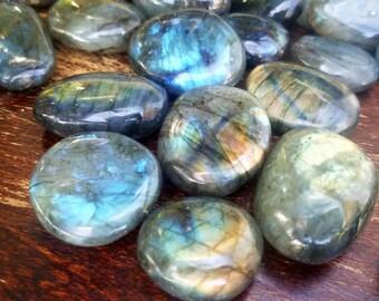 "1-2"" Grade AA to A- Labradorite Polished Stone, Tumbled, Crystals, Flash, Spectrolite, Pocket, Stone, Specimen, Healing, Meditation, Chakra"