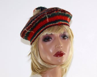 Vintage 40's Women's Girl's Scottish Plaid Mohair Wool Beret W/ Pom Pom - Size S