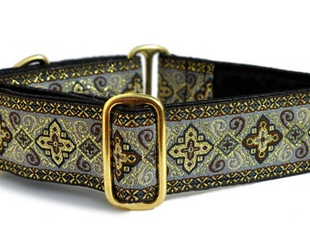 Martingale Dog Collar or Buckle Dog Collar - Custom Dog Collar - Wide Martingale Collar -  Nobility Jacquard in Gray & Black - 1.5 Inch