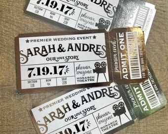 Shimmer Movie Ticket Save the Date or Birthday Party invitation