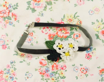 Velvet Choker with Crocheted Flowers
