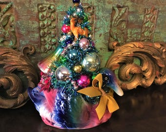 Christmas Mallard Duck Vintage Planter Bottle Brush Tree Arrangement Shiny Brite Mercury Glass Ornaments