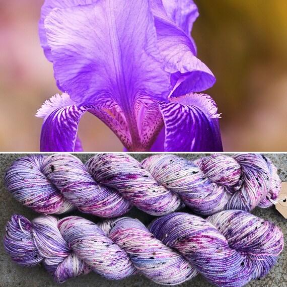 Spring Iris Sparkle Sock, speckled 4ply merino nylon yarn eith silver stellina