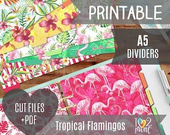 Watercolor Flamingos Planner A5 Dividers, Tropical Printable Planner Dividers, Flamingos Filofax Dividers, Planner A5, SILHOUETTE / Cricut