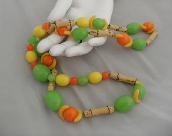 Fruit Salad Necklace Banana Necklace Lemon Lime Gift Plastic Fruit Necklace Bamboo Necklace Citrus Fruit Necklace Tropical Kitschy Jewelry