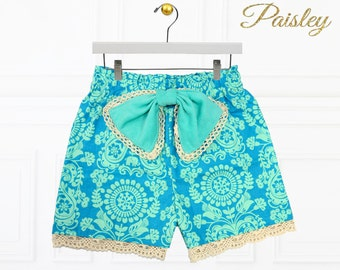 High Waisted Shorts Pattern, PDF Pattern, Children sewing patterns, Sewing Patterns for Kids, Girls Shorts Pattern, PAISLEY