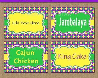 EDITABLE Mardi Gras Labels - Mardi Gras Candy Buffet Labels - Digital Mardi Gras Candy Station Labels - DIY Food Tags - Instant Download M1