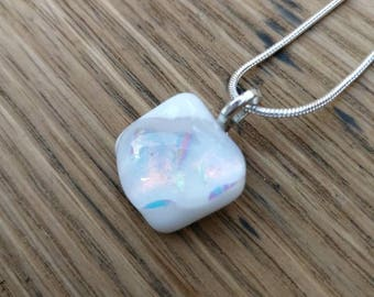 White and pastel colours dichroic fused glass pendant, silver plated chain