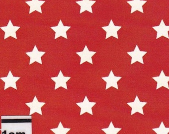 Red stars cotton fabric white by 10 cm