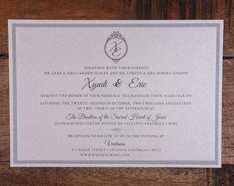 Silver and white Wedding Invitation, Classic Wedding Invitations, Silver Invitation, Silver Invitations, Rectangle Wedding Invitations