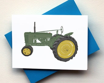 Antique Green Tractor Card