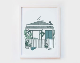 Giclee Art Print - Melbourne terrace house illustration, home, sydney, cats, plants - illustrated wall art, poster, decor - size A4 or A3