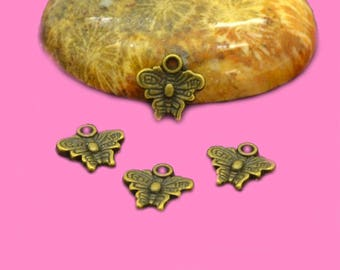 50 mini 10mm Butterfly charms bronze