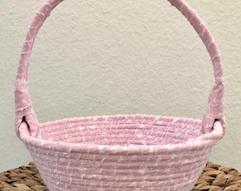 Fabric Basket, Spring Basket, Coiled Fabric Rope Basket, Rag Basket, Easter Basket, Gift Basket, PinkBasket, Cloth Basket w/Handle,