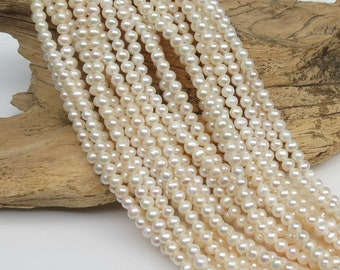 White Freshwater Pearls - LARGE HOLE Beads - 6-7mm - 15 Inch Strand - 68 beads - 2mm Hole
