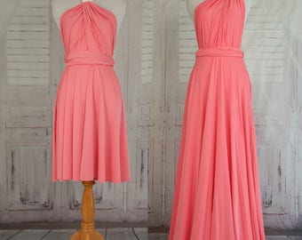 Coral Bridesmaid Dress  Wrap dress Convertible Infinity Dress Evening Dresses  Bridesmaid Dress-C26#B26#