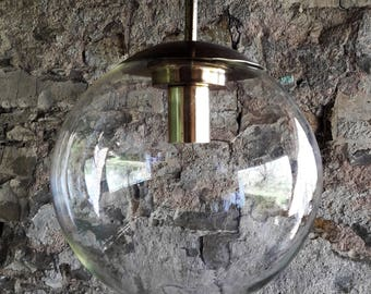 Vintage Mid Century Ceiling Light / Glass Ball Lamp / 70s