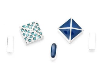 Silver Stud and Spacer Sliders - Blue Mix - 5 pieces