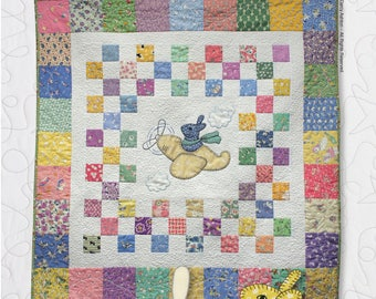 Pattern -- Bunny in the Sky Baby Quilt Pattern -- Airplane Bunny Pattern -- Traditional Paper Quilt Pattern -- Hand or Fusible Baby Quilt