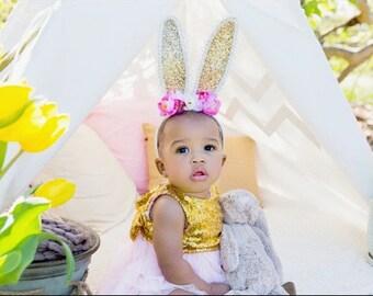 Easter Bunny Ears Headband, pink flower  Gold Glitter bunny ears, vintage headband, Easter Headband, Bunny Ears