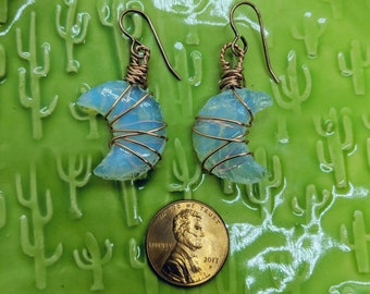 Opalite Moon Irridescent handmade Aura Pendants/copper earrings