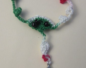 Multicolored (#5) Single decade rosary/Chaplet in Christmas Red, White and Green