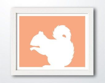Squirrel Print - Squirrel Silhouette, squirrel art, nursery wall decor