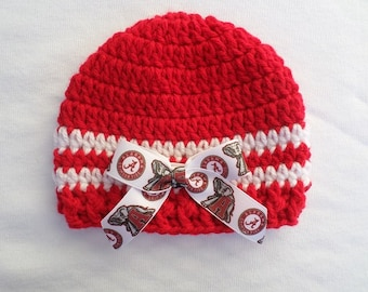Baby Hat, University of Alabama, Crochet, Handmade, Newborn, 3-6 months