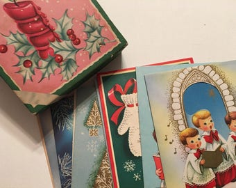 Vintage Boxed Christmas Cards Candle Glow 1950s Unused