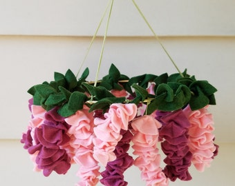 Pink wisteria baby mobile,  flower mobile, baby girl mobile, nursery decor