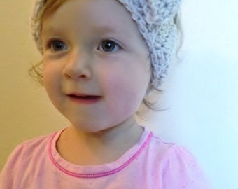 Crocheted Headbands for Little Girls with Button and Bow