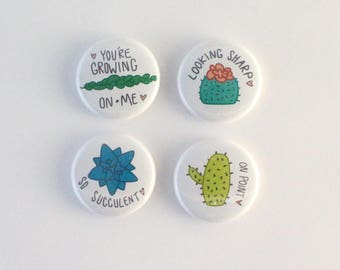 Cacti and Succulent Pinback Buttons, Four Set of Pins