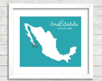 Mexico Love Map - Cabo San Lucas, Mexico - Cabo Wedding - Mexican - Destination Wedding - Gay Wedding - Mexican Honeymoon - Newlyweds