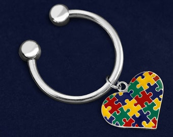 Autism Multicolored Puzzle Piece Heart Key Chain (RE-K-95-2)
