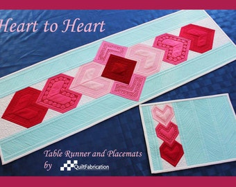 Valentine Table Runner, Heart to Heart, Heart Table Runner, Quilt Pattern, Holiday, Valentines Day, Heart Quilt, Table Decor, Holiday Decor