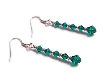 Sterling Silber Swarovski Ohrringe Smaragd Grün gothische Ohrringe