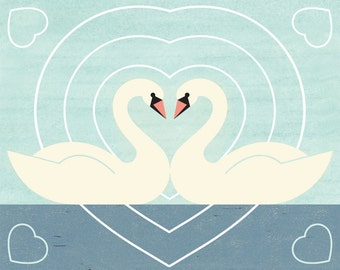 SWAN LOVE Charley Harper Inspired Illustration Art Print: 8 x 10, 9 x 12, 11 x 14, 12 x 16