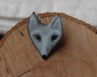 Enamel Arctic fox pendant